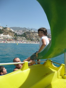 This was one of our favorite hours of the trip; a pedalo with slide on the Mediterranean in Nerja.  Heaven!