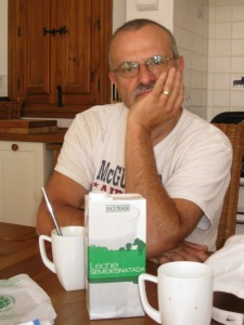 My husbands first coffee in our temporary home in Spain.  The first morning.