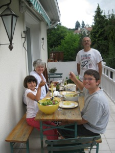 My mom, husband and kids dining al fresco on our lovely terrace